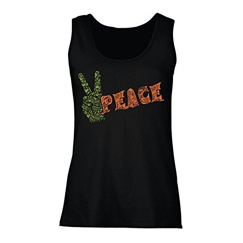 lepni.me Damen Tank-Top Friedenssymbol, 60er Jahre 70er Jahre Hippie Fest, Friedensschild (XX-Large Schwarz Mehrfarben)