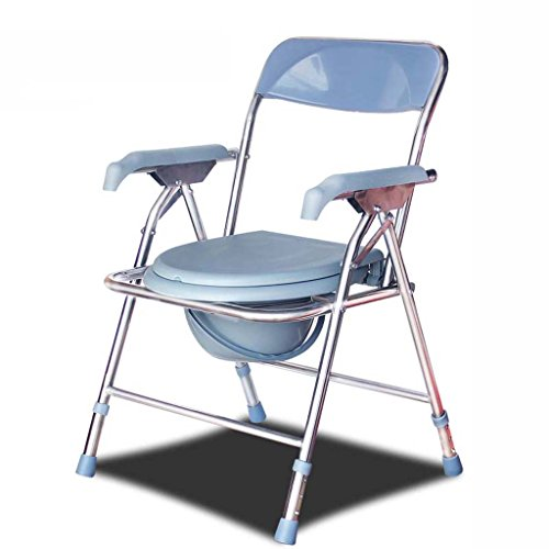 Guo Shop- Commode chaise handicapés femmes enceintes toilettes âgées en acier inoxydable pliant réglable en hauteur Salle de bain Tabourets