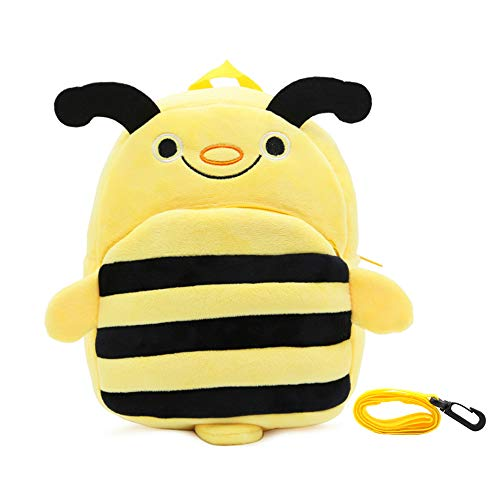 MCUILEE Baby Creative Cute Cartoon Small Toddler Backpack,Kid Bag Soft Stuffed Animal Cartoon Safety Anti-Lost Strap Rucksack with Reins for Baby Girl Boy Age 1-3 Years (Bee)