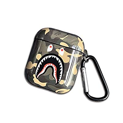 Shark Teeth Softshell Silicone Camouflage Airpods Case, IMD Case Shockproof Case Skin with Key Ring, Suitable for Apple Airpods 1 & 2 Charging Box
