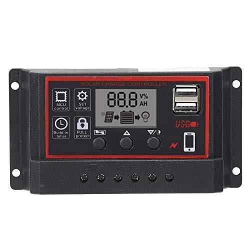 Controlador de carga solar Solar, batería de panel negro con pantalla LCD Dual USB 12V / 24V PWM Panel de celda Parámetro automático ajustable(40A)