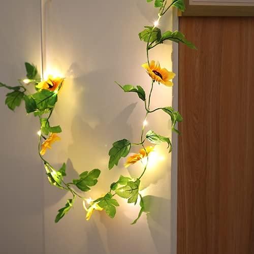 Cuerda de Luz de Girasol, Luces LED Pilas, Guirnalda Colgante de 2 m, 20 Luces LED, Lámparas DecoracióN para Casas Boda Arbol de Navidad