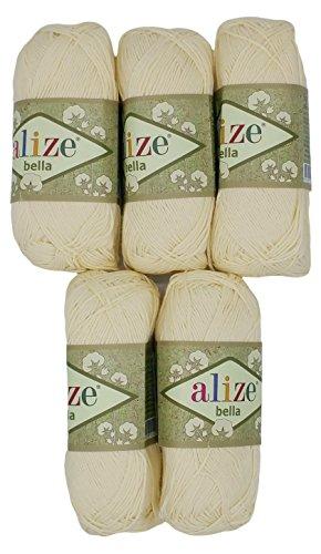 Alize Bella 5 x 50 Gramm Baumwolle einfarbig, 250 Gramm Wolle aus 100{b0d85f7c3a72f02884bdb2b2e28edd7b70cc4da120cdadd9b1fbcd481300e694} Baumwolle, Strickwolle (Creme 01)