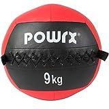POWRX Wall Ball Balón Medicinal 9 kg - Ideal para Ejercicios de »Functional Fitness«, fortalecimiento y tonificación Muscular - Agarre Antideslizante + PDF Workout (Rojo)