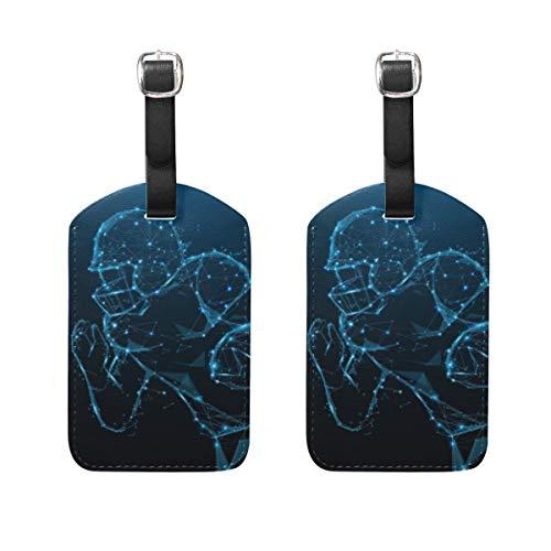 Chic Houses Etiquetas de cuero para equipaje de fútbol atleta de la ciencia ficción, línea de la maleta, etiqueta de equipaje de viaje, etiqueta para maleta 2031549