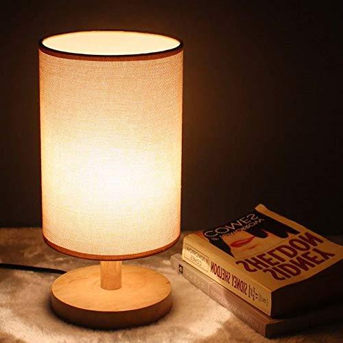 Lámpara Escritorio!Estilo Nórdico Tela Pequeña Lino Lámpara De Mesa Dormitorio Luces De Mesa Luz De Madera Sólida Luz De La Noche Creativa Para Accesorios De Iluminación