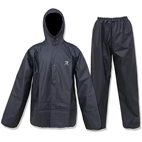 ZOEGO Combinaison de pluie Ultra-Lite pour hommes Femmes Manteau de pluie de protection imperméable avec pantalon 2 pièces Vêtements de pluie (Noir, XXL)