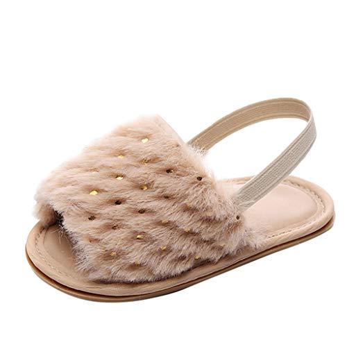 Kleinkind Schuhe für Kinder/Dorical Unisex Babyschuhe Jungen Mädchen Neugeborene Baby Brief Feste Flock Weiche Sandalen Slipper Freizeitschuhe Krabbelschuhe(Z02-Khaki,19 EU)
