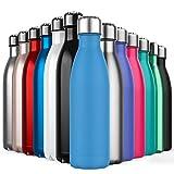 Invool Botella de Agua de Acero Inoxidable,Diseño de Pared Doble,Boca EstáNdar,para Correr, Gimnasio,Yoga,Ciclismo,500ML,Mar Azul