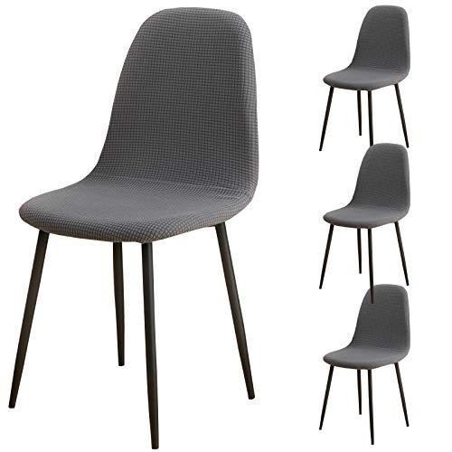 Shell Chair Covers Mid Century Modern Style Jacquard Stuhlhussen 4er Pack Schonbezüge für Esszimmerstühle, Küche, Schlafzimmer, Wohnzimmer, Lounge Armlehnenstühle (Grau)
