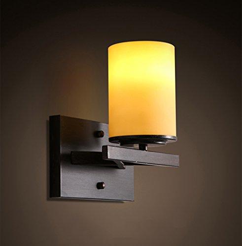 Wandverlichting-QFF Retro ijzeren wandlamp, restaurant slaapkamer bedlampje hotel café bar gang wandlamp Scandinavische stijl enkelkop E14 Engineering wandlamp hoogte 23,5 cm warm licht