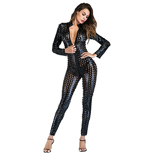 Wonder Pretty Damen Catsuit Schwarz Leder Jumpsuit Overall Catwoman Kostüme Latex Wetlook Sexy Dessous Ouvert Body Clubwear S