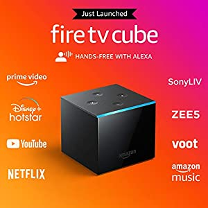 Fire TV Cube   Hands-free streaming device with Alexa   4K Ultra HD   2021 release