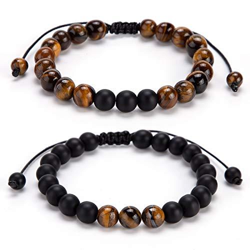 ANSUG Bracciale Coppia Catena di perline da 8 mm, bracciali a distanza, bracciale in pietra agata, con confezione regalo di lusso per marito e moglie, fidanzato e fidanzata, amicizia