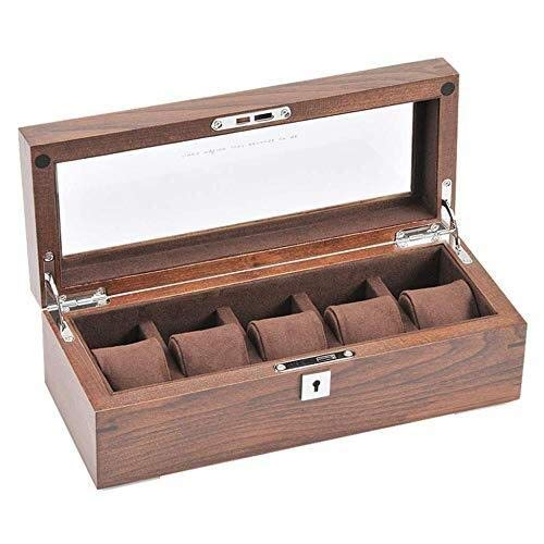 LULUTING Caja de Reloj/joyería Colección de visualización Caja de Madera, 5 Ranuras, Transparente Windows y Cojines