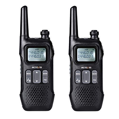 Retevis RT616 Walkie Talkie, VOX 10 Ruftöne FM Radio, PMR446 Lizenzfrei 16 Kanäle, LED Taschenlampe, Funkgerät Set, 1000mAh USB Ladekabel, Funkgerät (1 Paar, Schwarz)