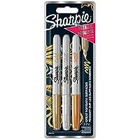 Sharpie–Juego de rotuladores permanentes, punta fina, color Assorted Metallic Colours 3 unidades
