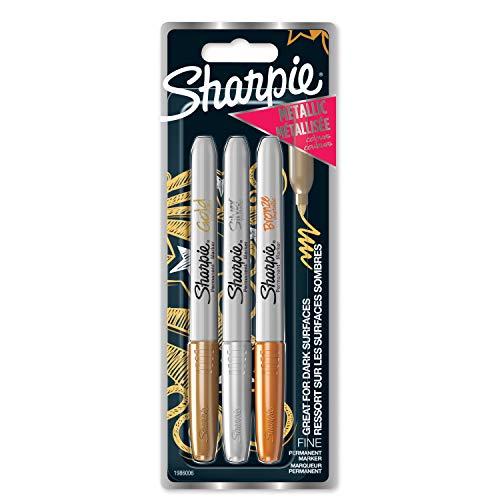 Sharpie Markery permanentne | cienka końcówka | różne kolory metaliczne | 3 sztuki