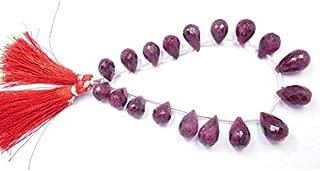 GemAbyss Beads Gemstone Tear Drop Beads 8 Inch Long Long Natural Gemstone Ruby Corundum Faceted 7-11X8-12 Mm Tear Drop Bead,Teardrop Beads,Drop Beads,Faceted Beads Code-MVG-44071