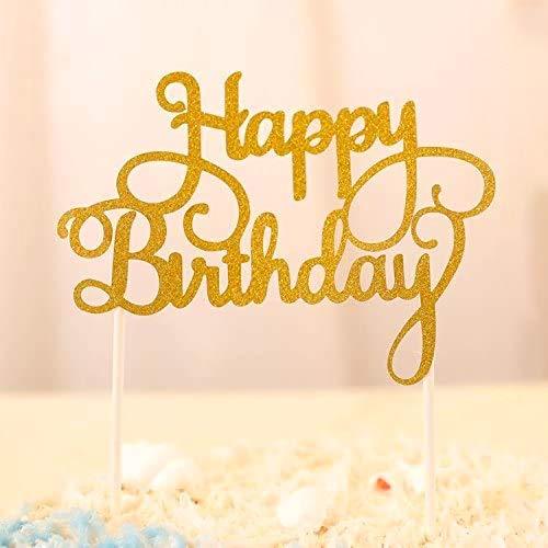Happy Birthday Kuchendekoration Cake Toppers Kuchen Deko (Gold)