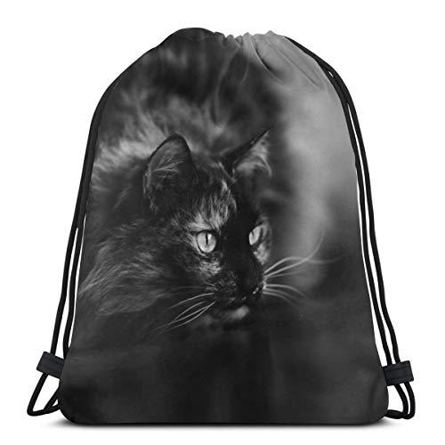 Rasyko Cat Animal Monocromo Custom Cordón Bolsas de Hombro Bolsa de Gimnasio Mochila de Viaje Ligero Gimnasio para Hombre Mujeres 16 'x 14'