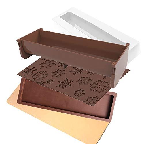 DAUDIGNAC kit Moule a buche 5 Pieces avec Insert et Tapis Relief - Flocons - Se