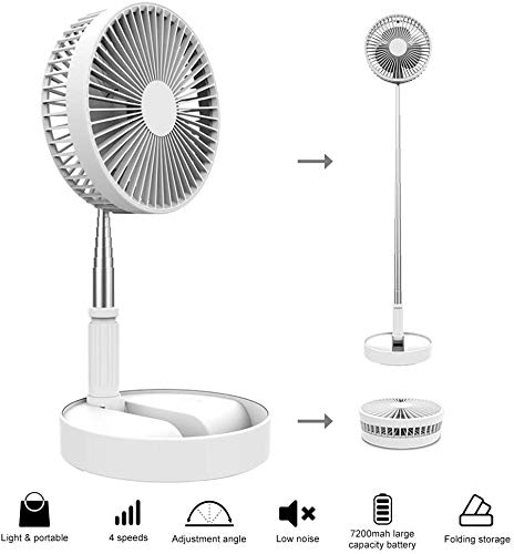 ONXE Personal Desktop Fan,7200 mAh Battery Powered Floor Fan,Fold and Adjustable Height Air Circulator USB Table Fan for Outdoor, Courtyard, Beach, RV, Tent, Travel, Room, Kitchen,4 Speed 8''(White)