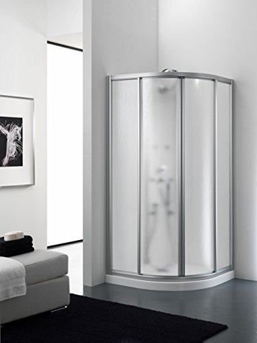 Mampara ducha acrilico semicircular apertura centrale dos hojas correderas aluminio blanco 75 x 75 cm, H 185 cm