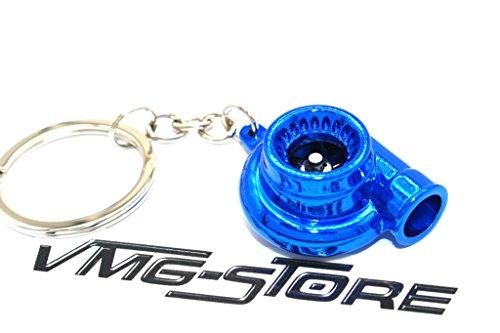 VmG-Store Turbo Blau Chrom Schlüsselanhänger mit drehendem Verdichterrad Turbolader Schlüssel