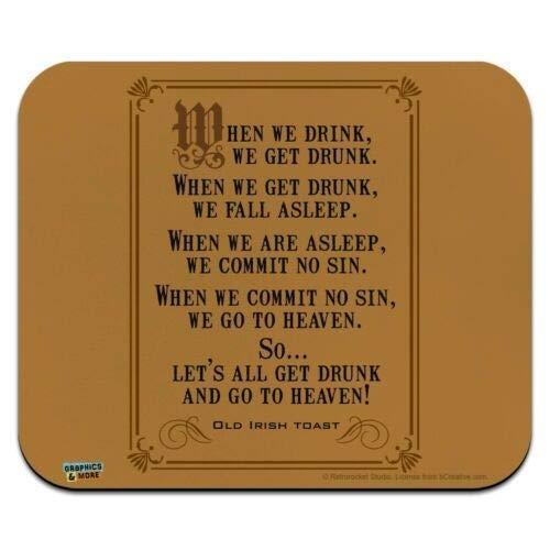 Mausmatte, alter irischer Toast, wenn wir trinken Get Drunk Low Profile Dünne Mauspad Mousepad, Gaming Mouse Pad