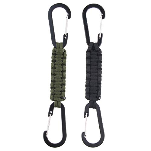 Baoblaze 2pcs Paracord Porte-clés Mousqueton Survie Parachute d'urgence Sécurité - Couleur 2pcs, 19cm