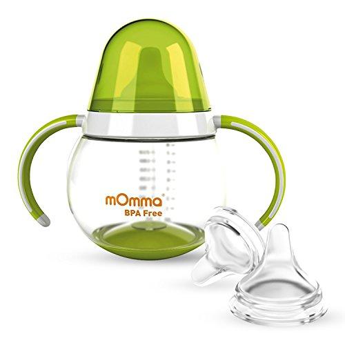 Lansinoh mOmma Trinklernbecher mit Doppelgriff, Tropffreier Schnabel-Aufsatz & 2 Lansinoh NaturalWave Sauger Gr.L (ab 6 Monate) BPA frei