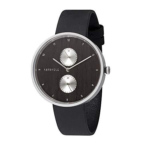 KERBHOLZ orologio in legno - Elements Collection Emil, cronografo analogico, da uomo, quadrante di legno naturale, cinturino di vero cuoio, Ø 40mm