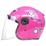Casco Moto Per Bambini Mezzo Casco 3/4 Casco Per Moto Visiera Parasole Casco Aperto Per Uomo Donna Omologato DOT/ECE Casco ATV Ciclomotore Leggero Estivo (Entro 53 Cm),Rosa