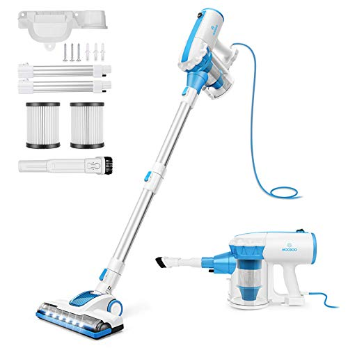 MOOSOO Vacuum Cleaner, 4 in 1 Stick Vacuum 17000pa Powerful Suction, with LED Electric Brush 1.2L Large-Capacity Dust Cup for Hardwood Floor Vacuum with 2Pcs HEPA D601,Blue