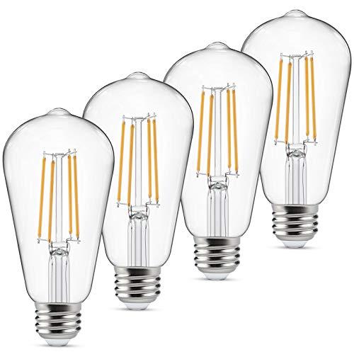 Dimmbare LED-Edison-Leuchtmittel, entspricht 60 Watt, Augenschutz, LED-Leuchtmittel mit 95+ CRI, Warmweiß 2700 K, ST58 antikes LED-Glühfaden, E26 mittlerer Sockel, 4 Stück