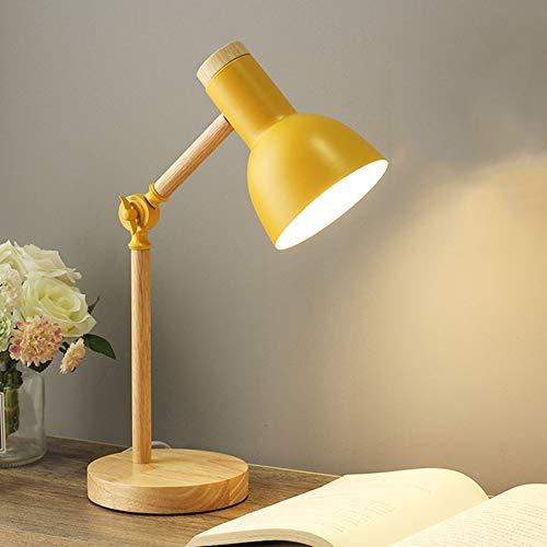 Mengjay Nordic Modern Creative Tischlampe Schlafzimmer Nachttischlampe Kinder Büro Augenschutz Lesetischlampe Verstellbare Schreibtischlampe E27 Holz Metall Nachtlampe (Gelb)