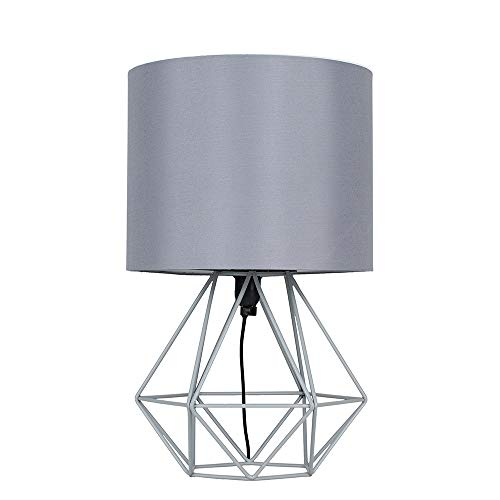 Modern Grey Metal Basket Cage Style Table Lamp with a Grey Fabric Shade - Complete with a 4w LED Golfball Bulb [3000K Warm White]