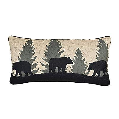 Donna Sharp Throw Pillow - Bear Walk Plaid Lodge Decorative Throw Pillow with Bear Pattern - Rectangular