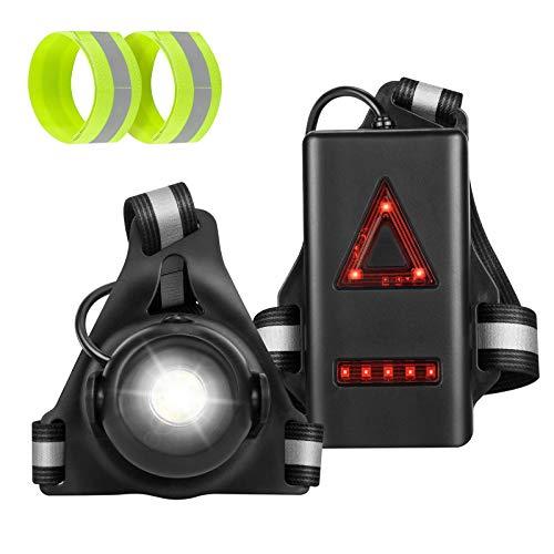 TOLIANCLE Lauflicht,Super Hell Brust Licht,Wiederaufladbare USB Wasserdicht Leicht Sport Lauflamp,90° Einstellbarer Abstrahlwinke Reflektierende Brustgurt,Für Laufen Joggen Angeln Camping Radfahren