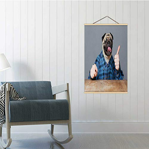 Hitecera Funny Pug Dog with Man Hands Showing thimbs up Dog,Poster Frames Men 16/19/24 Frams 19x29in(WxH)