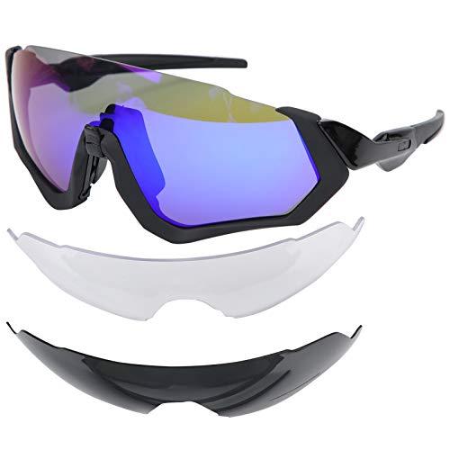 Asixxsix Gafas de Sol de Ciclismo, Gafas de protección de Pantalla Completa con Lentes Intercambiables, Gafas de Sol Deportivas Anti-UV, para Bicicletas(Black Frame Blue Film)