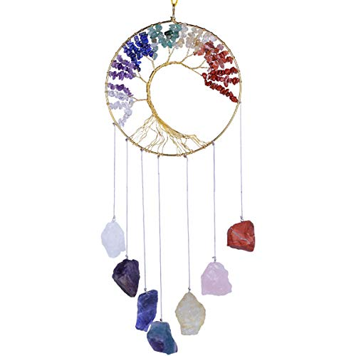 rockcloud Healing Crystals Tree of Life Wall Hanger Tumbled Gemstones Meditation Hanging Ornament...