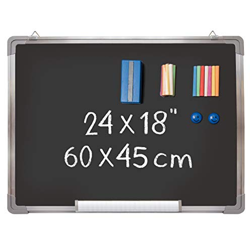 "Chalkboard Set - Black Board 24 x 18"" + 1 Magnetic Chalk Eraser, 14 Chalk Sticks (7 Colors) and 2 Magnets - Small Message Blackboard with Sturdy Frame for Home Office Class School (24x18"" Landscape)"