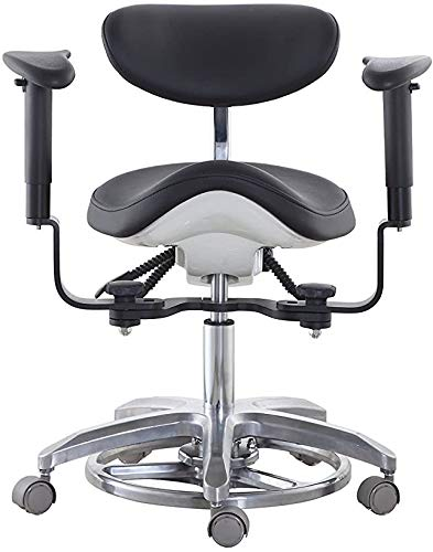 East-New Medical Dental Chair Microscope Saddle Stool Foot Controlled/Pedal Base PU Leather with 45°Swiveling Armrests SDS-FC1