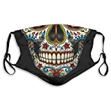 Sugar Skull Floral Style Dust Face Mask Adjustable Mouth Mask Balaclava Bandanas with Filter Paper for Kids Teens Men Women S