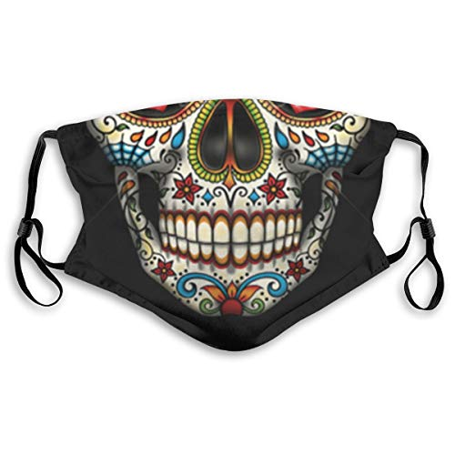 Sugar Skull Floral Style Dust Face Mask Adjustable Mouth Mask Balaclava Bandanas With Filter Paper For Kids Teens Men Women M