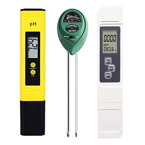 Bluetooth earphone Bodentests Kits, Bodenprüfer TDS EC Meter 3 in 1 Bodentester mit Feuchtigkeitslicht pH-Test für Indoor Outdoor Garden Farm Rasen Erwachsene 3 stücke (Color : 1)