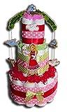 Tarta de pañales mágica para niñas, en bonitos colores, regalo para bebés,...