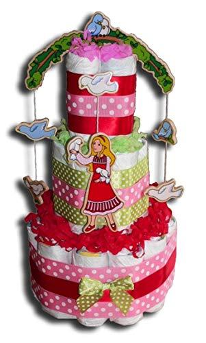 Tarta de pañales mágica para niñas, en bonitos colores, regalo para bebés, bautizos, nacimientos, etc.